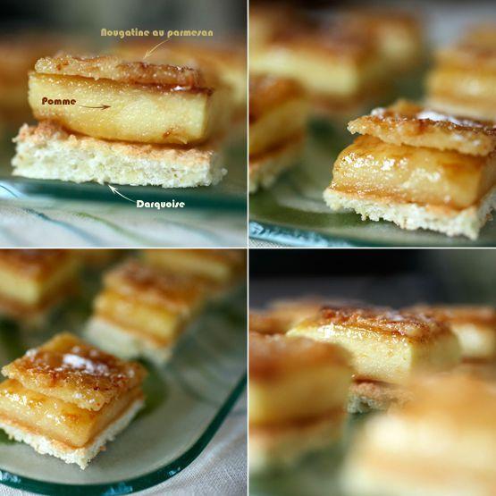 Dacquoise de pomme et nougatine au parmesan