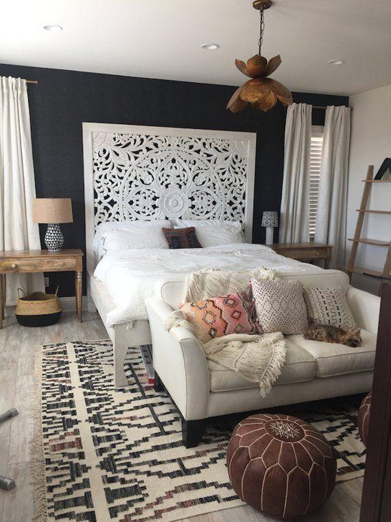 76 Large California King Size Bed Teak Wood Bohemian