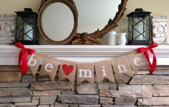 Be Mine Banner - Be Mine Burlap Banner - Valentine's Day Banner - Valentine's Day Decor - Valentine Photo Prop