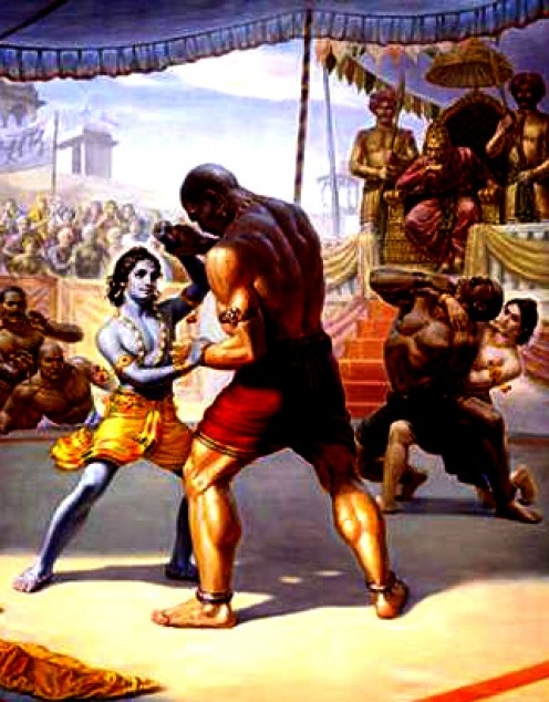 Kamsa sent several wrestlers to kill Krishna, but they were no match for Krishna and Balarama.