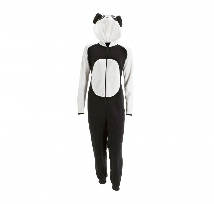 Stay all warm and fuzzy in a panda onesie S-XL.