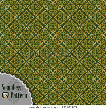 Seamless pattern with ornamental oriental arabesque in assorted colors;Symmetrical with borders. Elements are grouped for easy edit colors. - stock vector