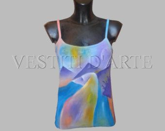 HAND PAINTED TANK tops for womens clothing art womens tank tops art wearable art…