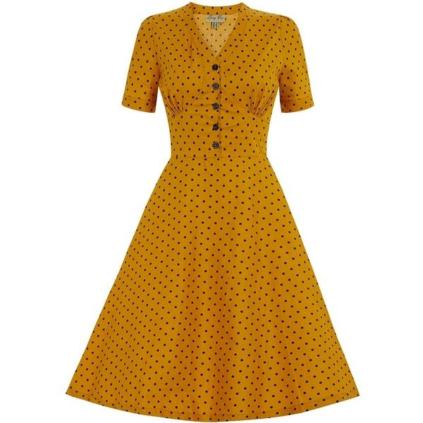 'Ionia' Mustard Polka Dot Tea Dress (200 RON) ❤ liked on Polyvore featuring dresses, yellow, button dress, polka dot dress, tie waist dress, dot dress and flare dress