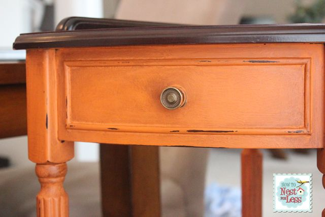 Annie Sloan Barcelona Orange paint color on a corner table, from How To Nest For Less