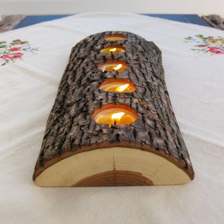 5 tealight wood candle holder low lying bark on split log eco nature beeswax candles