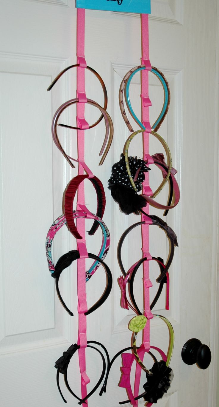 We have so many headbands!  I have to figure out something like this for every style.