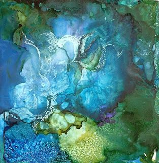 "Contemporary Artists of Louisiana: Abstract Painting, Alcohol Ink ""The Waters:Their Creatures"" by New Orleans Artist Lou Jordan"