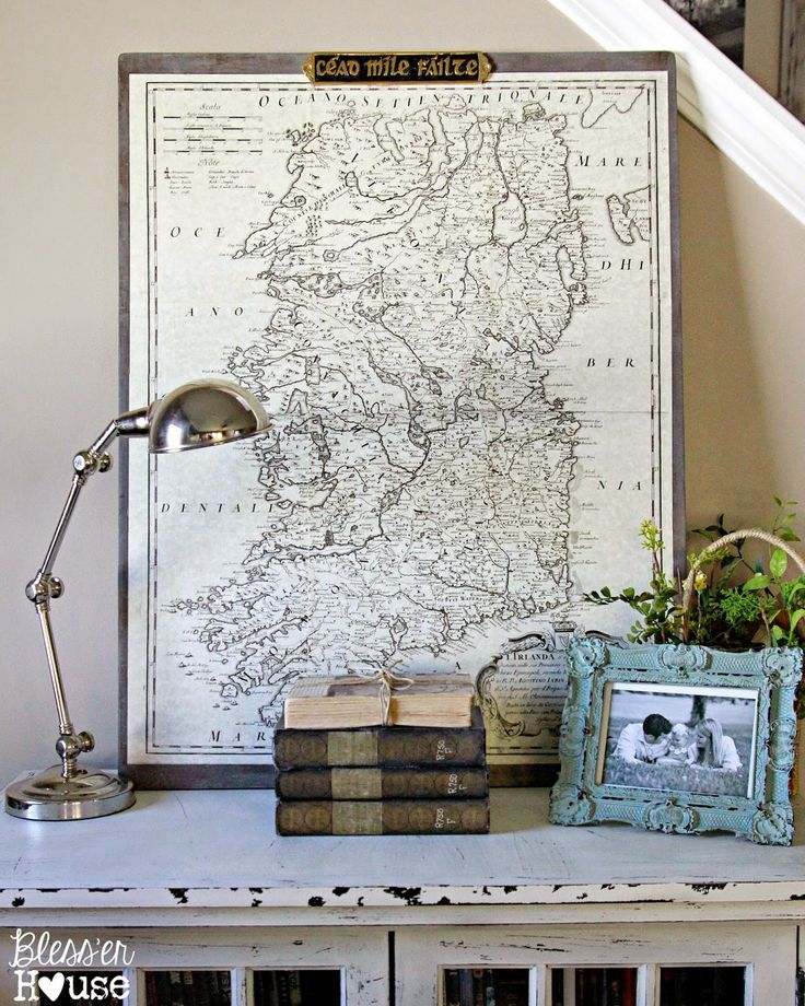 DIY Oversized Vintage Map 259 best crafts