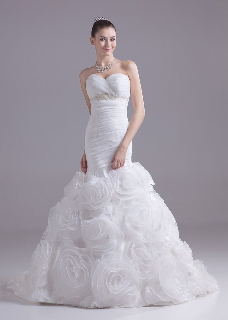 Stunning Mermaid Sweetheart Pearl Beaded Organza Wedding Dress With Ruffles