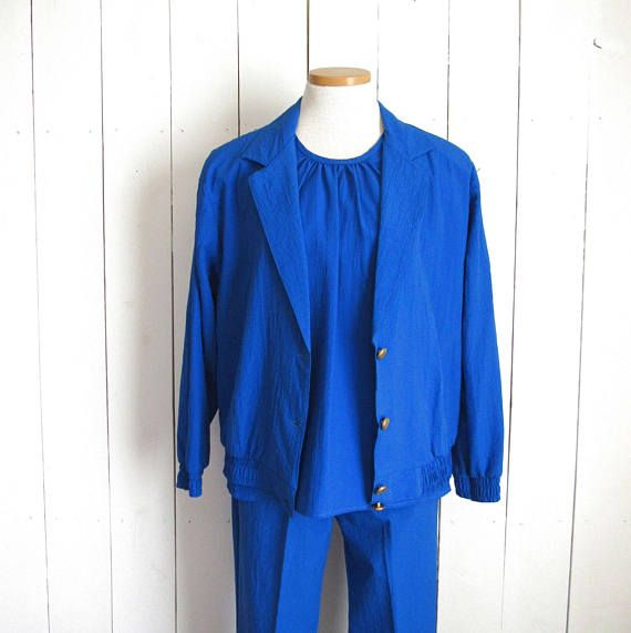 80s Three Piece Suit Set Electric Blue Vintage Cap Sleeve