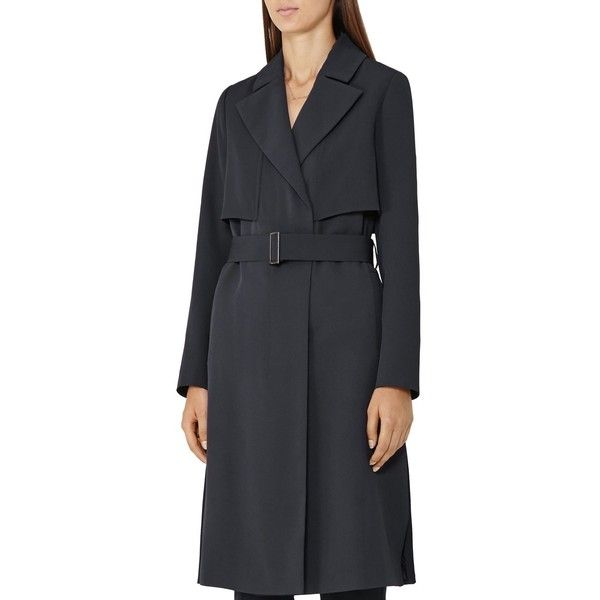 Reiss Lina Trench Coat ($340) ❤ liked on Polyvore featuring outerwear, coats, night navy, navy blue coat, navy coat, trench coat, navy blue trench coat and reiss coat