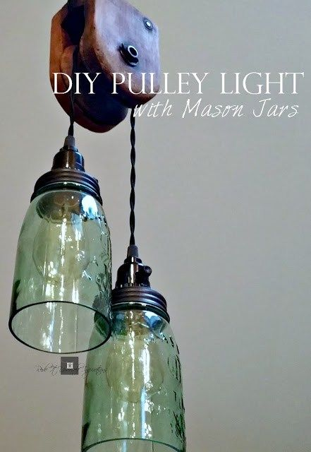 DIY Pulley Light with Mason Jars                                                                                                                                                     More
