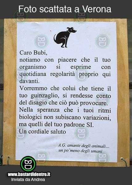 Augurio per il padrone...  #bastardidentro #cartello #cane #padrone