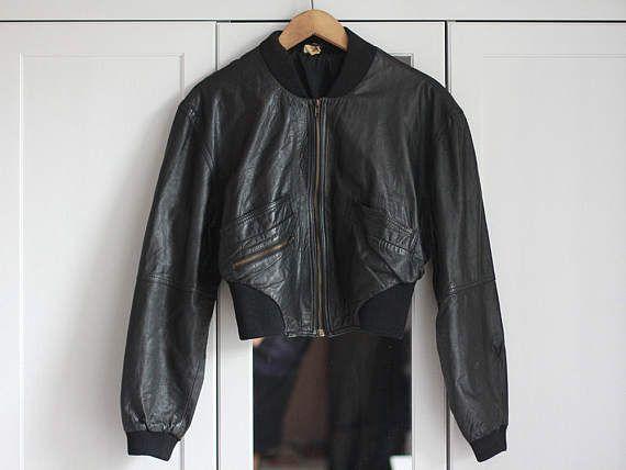 Leather Jacket Crop Bomber Black Genuine Leather Vintage 70s