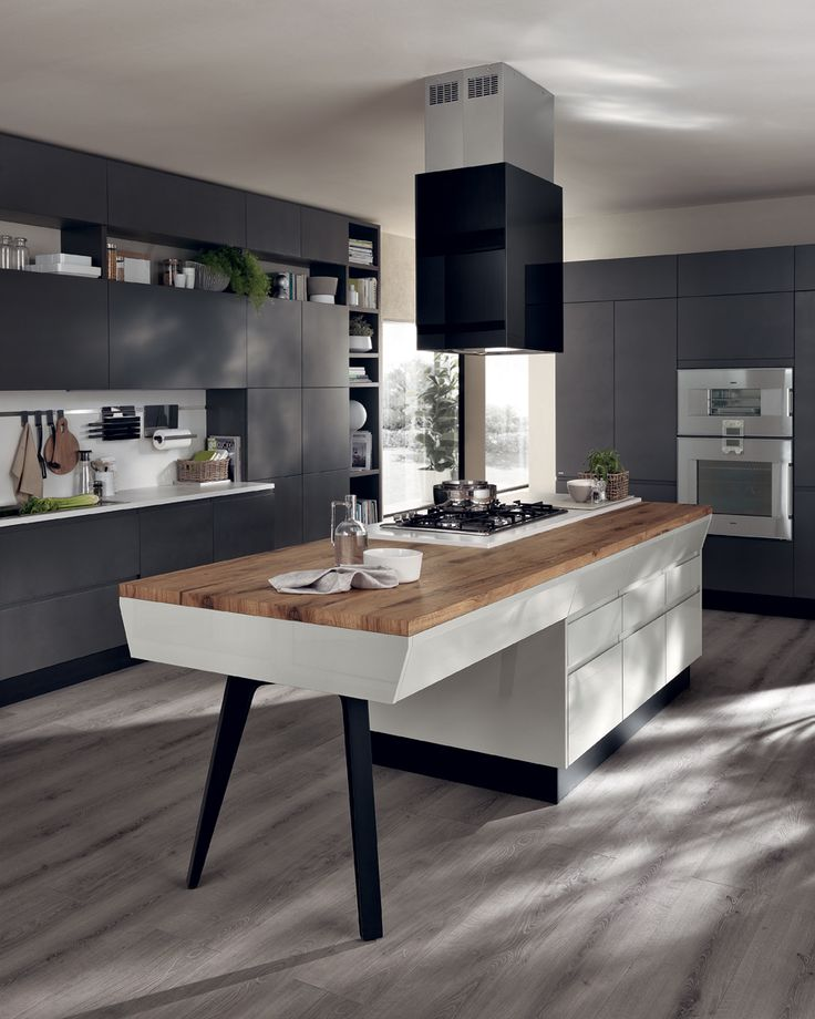 base units wall units and open units are in matt iron grey lacquer finish kitchen moderndesign - Kitchen Wall Units Designs