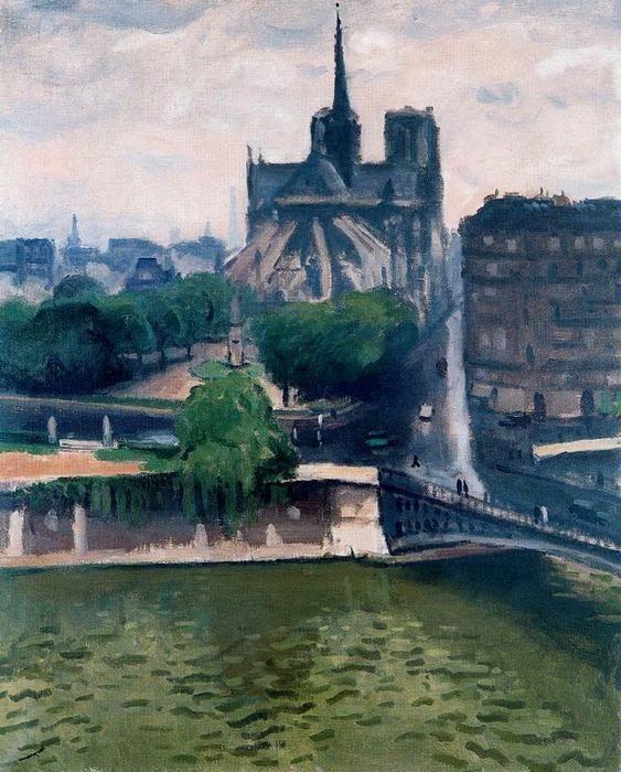 'El ábside de Notre-Dame', huile de Albert Marquet (1875-1947, France)