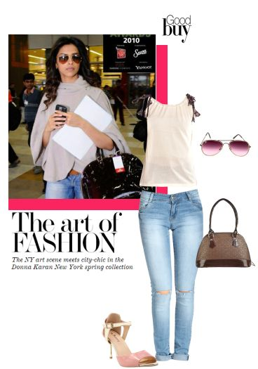 'dipikastyle' by me on Limeroad featuring Multi Jeans, Beige Tops, Pink Sunglasses, Brown Handbags with Pink Sandals