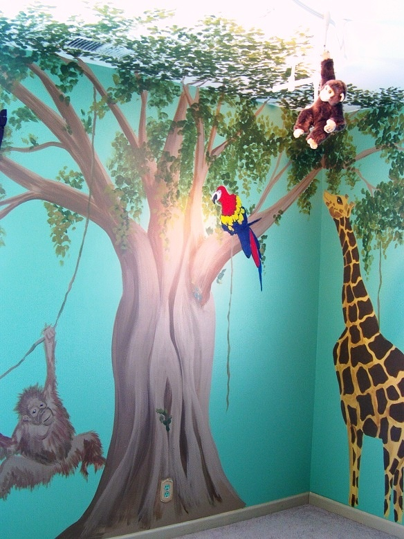 Jungle Themed Nursery Mural  Really cool!  I can just picture a koala in that tree!!