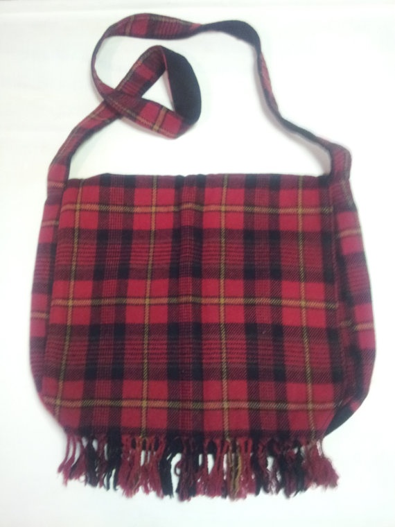 Red Plaid Wool Wool Blend Messenger Bag by CKCreations8796 on Etsy, $35.00