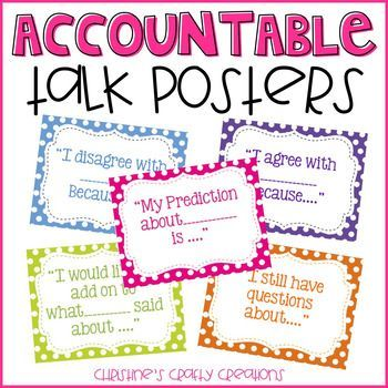 16 Polka dot Accountable Talk Posters!Great for book club meetings, literature circles, math centers, and much more.You may also like:Chevron Accountable Talk Posters