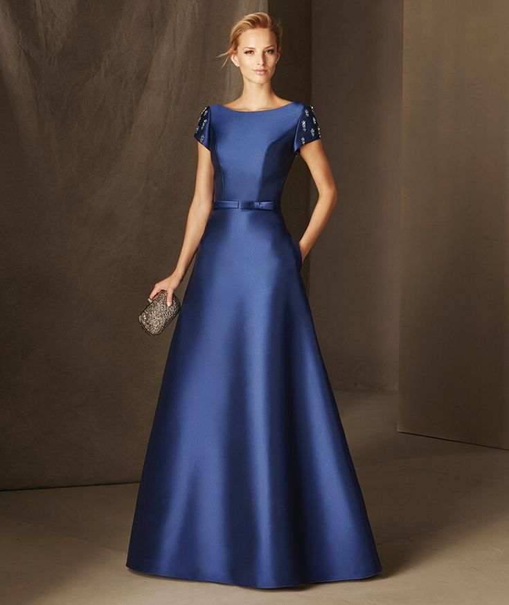 Bria - Mikado maid of honor dress with a plunging V-back and gemstones