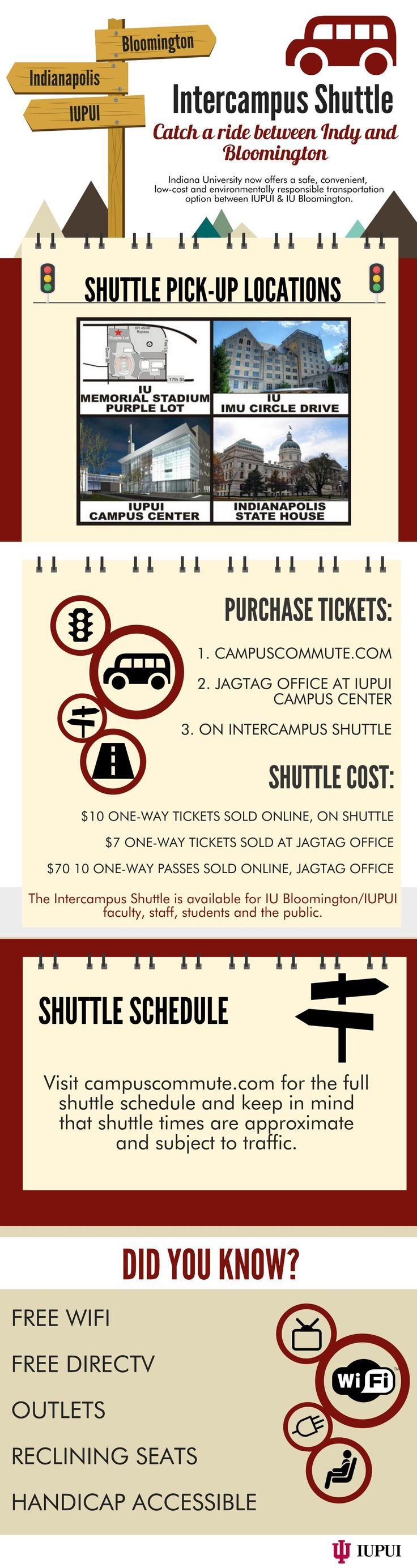 Indiana University has launched Campus Commute, an intercampus shuttle bus service between Bloomington and Indianapolis, making 4 trips each weekday.