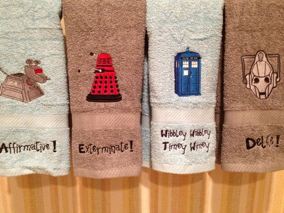 Custom Embroidered Doctor Who Bathroom Hand Towel on Etsy, $15.99