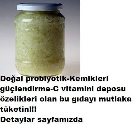 Doğal probiyotik içeren besin lahana turşusu