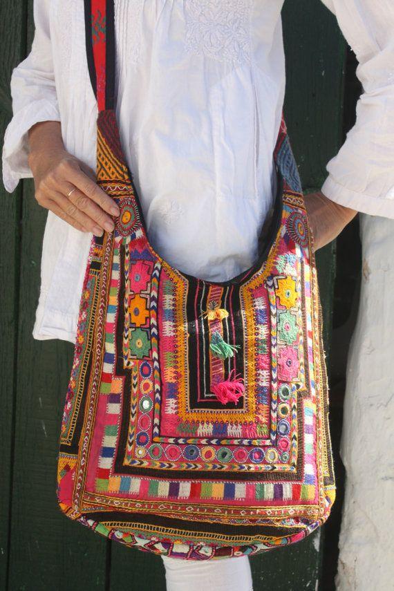 Antique Indian hand embroidery big  shoulder hand bag on Etsy, $83.76