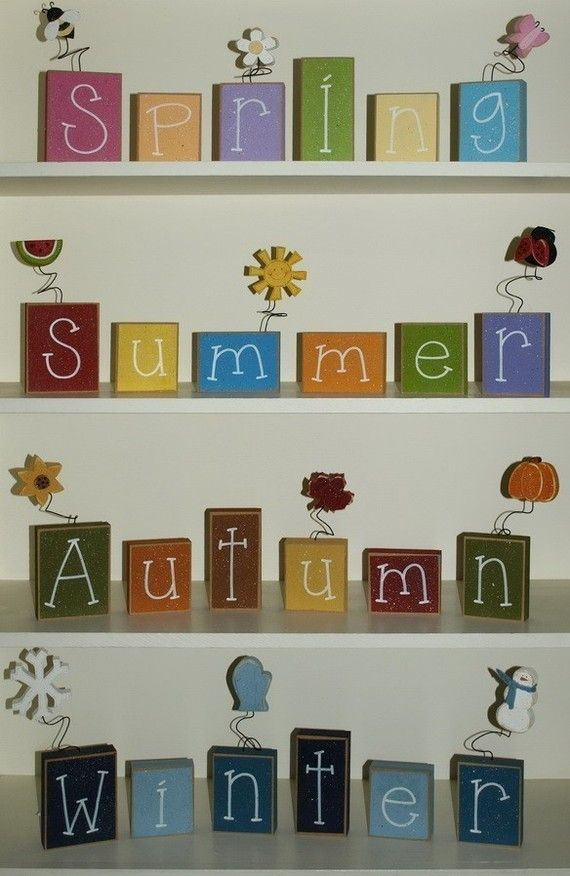 SEASON BLOCKS for winter spring summer autumn by lisabees on Etsy
