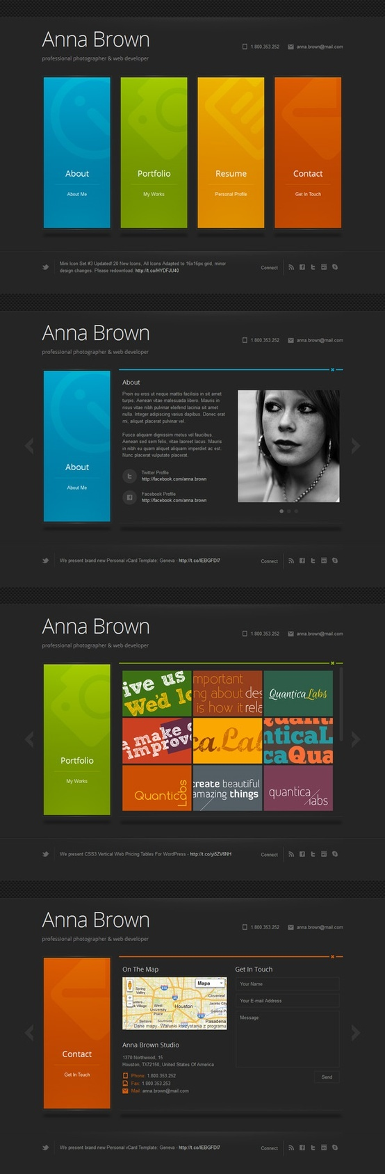 Cascade is a minimalist personal vCard WordPress theme based on vertical menu tabs. Tabs are presenting pages content. Each page is one Cascade tab