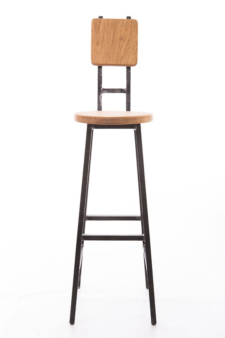 Bar stool, with high backrest industrial style made with steel bar and oak.  Very