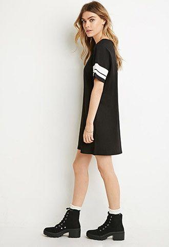 Varsity-Striped T-Shirt Dress | Forever 21 - 2000173014
