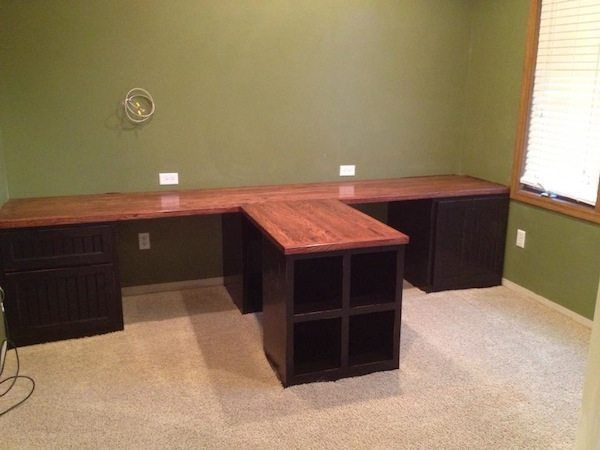 Diy Office With T Shaped Countertop And Built In Cabinets Sawdust Girl Home Office Furniture Home Office Decor Diy Office
