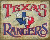 Texas Rangers Baseball Print, original ,faux,vintage,major league baseball art