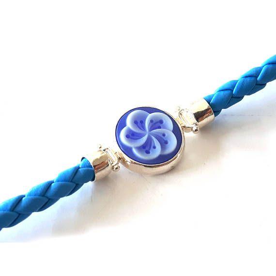 Light blue cameo bracelet Flower italian cameo jewelry donadio agate stone cameo bracelets camée Камень камео браслет 石のカメオブレスレット gift