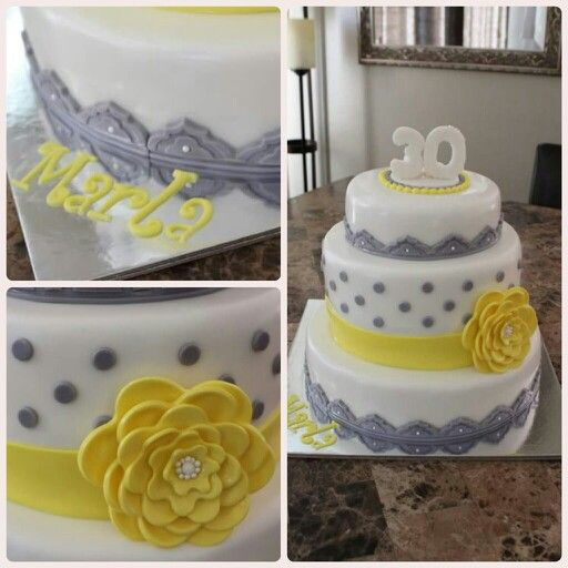 Birthday, fondant, gray & yellow theme
