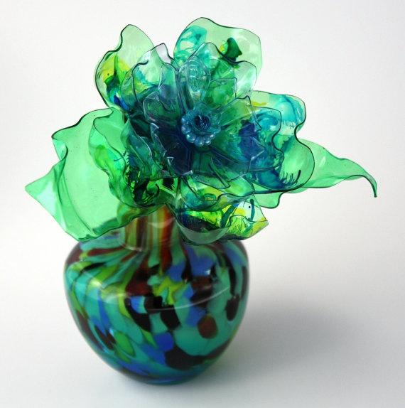 Teal green flower vase gift aqua blue lime green royal for Flowers in glass bottles