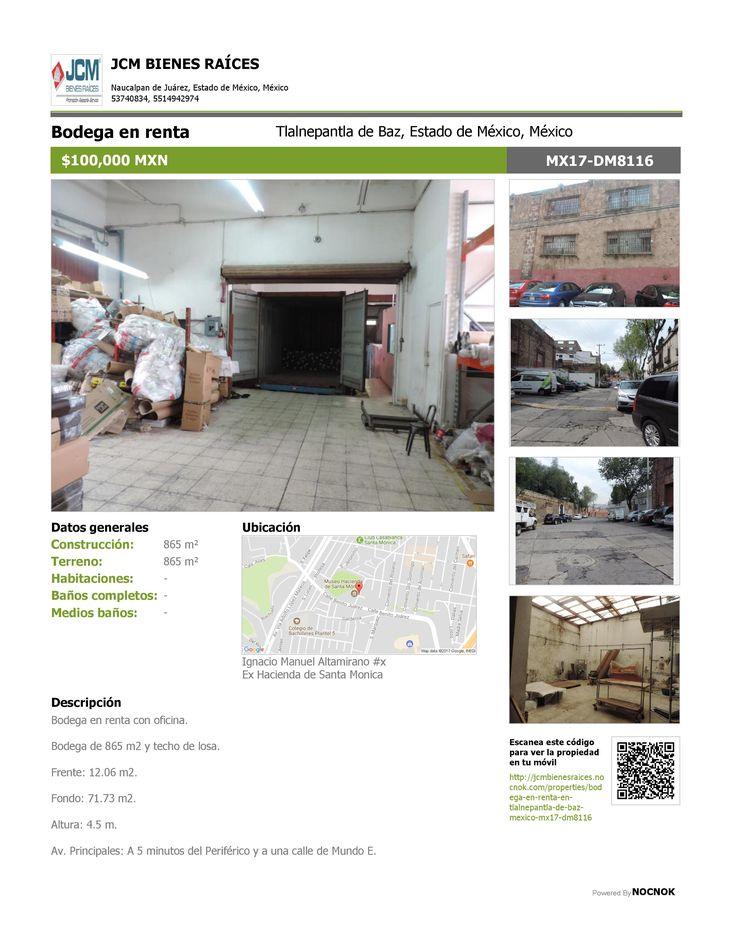 MX17-DM8116 Bodega en renta en la calle Ignacio Manuel Altamirano, Ex Hacienda Santa Mónica, Tlalnepantla, Estado de México, Mexico. $100,000. ¡Llamanos! (55) 53740834