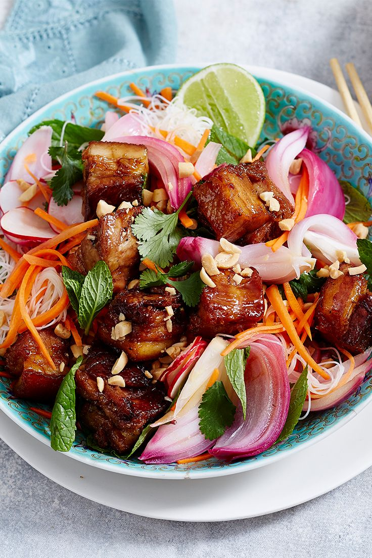 This weekend winner is sure to delight the entire family. Think sticky sweet pork belly combined with a tangy pickled onion salad and crushed peanuts for added crunch...you can't go wrong!