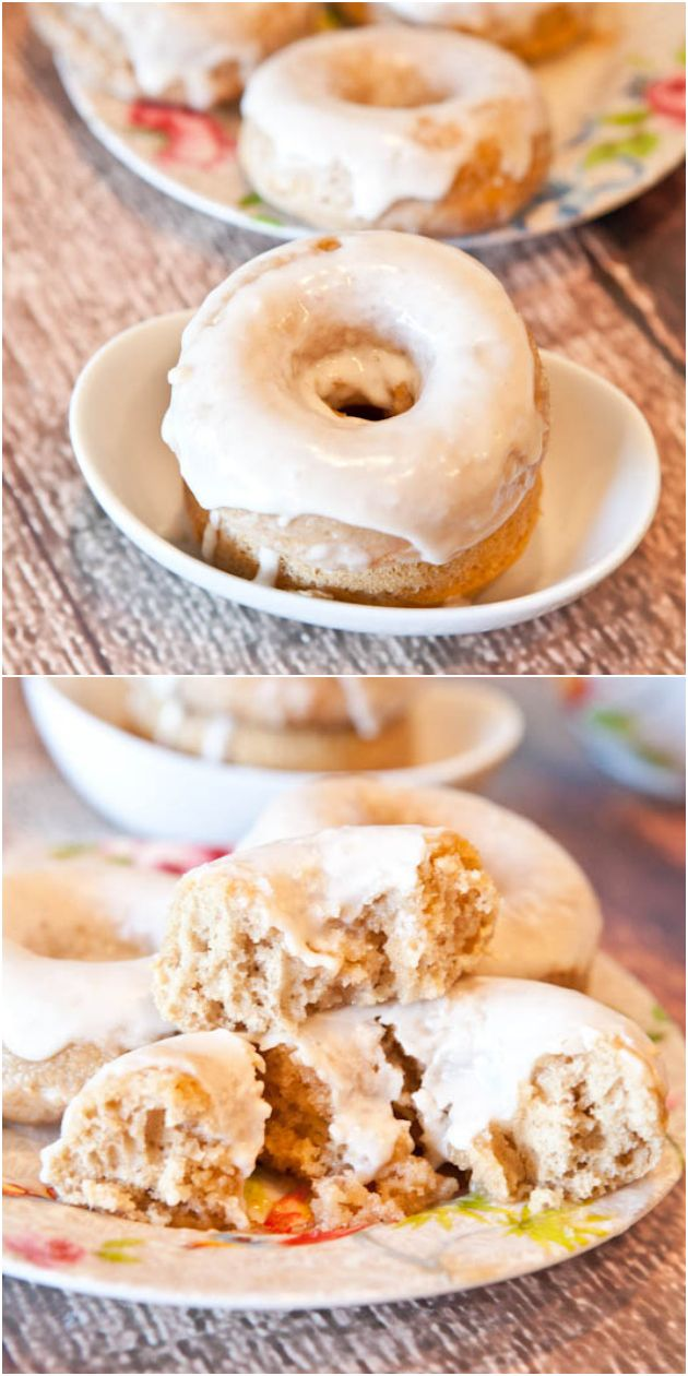 Baked Cinnamon Bun Donuts with Vanilla Cream Cheese Glaze - A cinnamon roll meets a donut on the way to the oven! Soft, fluffy, easy & ready in 10 minutes!