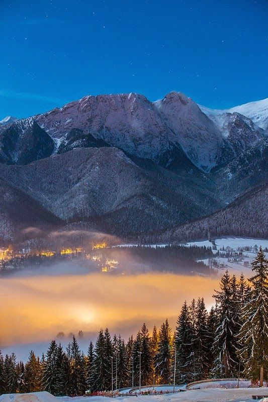 Zakopane, Poland night in the clouds.