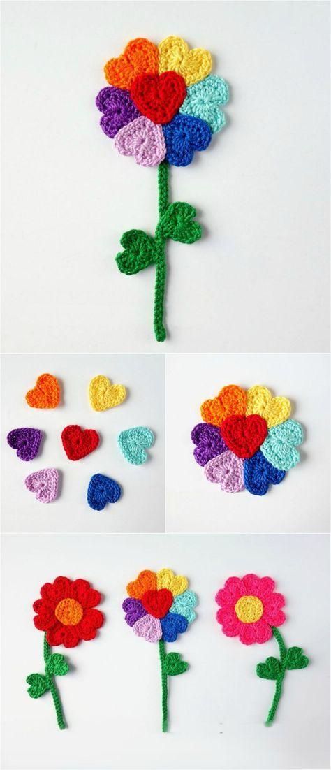 Crochet Flower With Hearts   Ranas, Ganchillo y Tejido