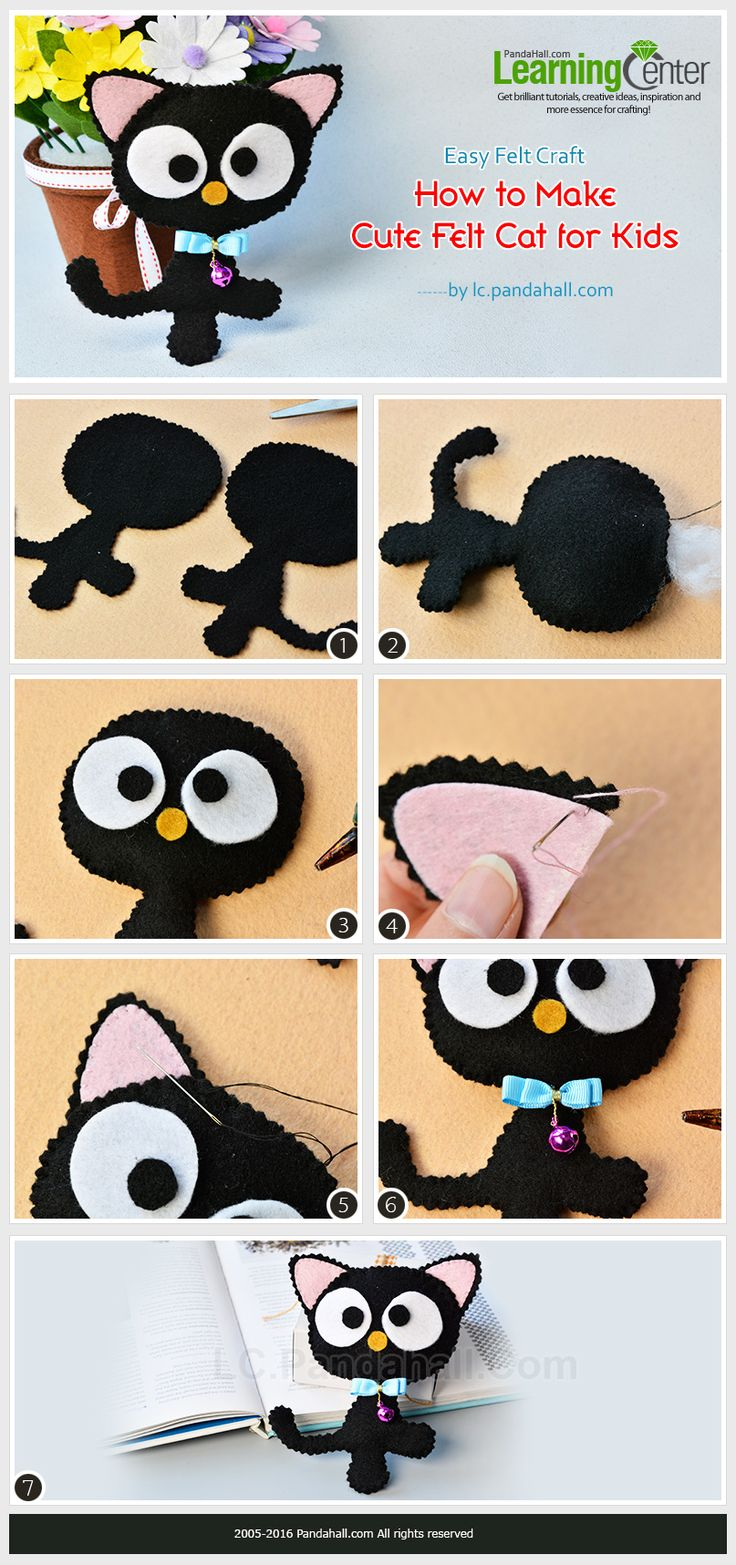 Easy Felt Craft- How to Make Cute Felt Cat for Kids from LC.Pandahall.com