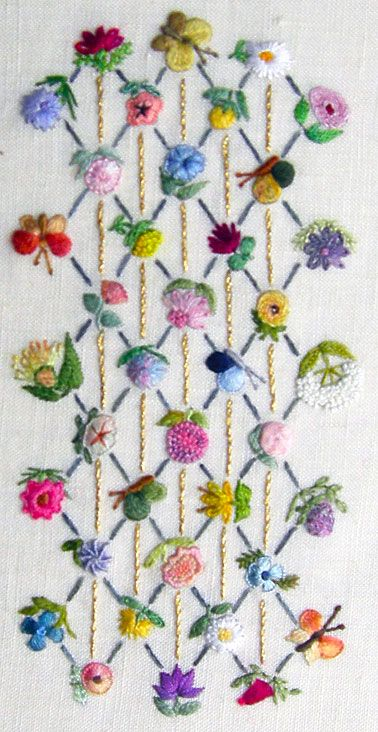 FLOWERS ON LATTICE Embroidery Kit. This company has beautiful designs! Threads not included with kit.