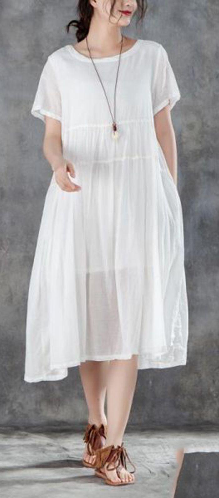 Women Cotton Dresses Plus Size Clothing Casual Summer Round Neck Short Sleeve White Dress Women Cotton Dress White Short Sleeve Dress Casual Summer Dresses [ 1591 x 700 Pixel ]