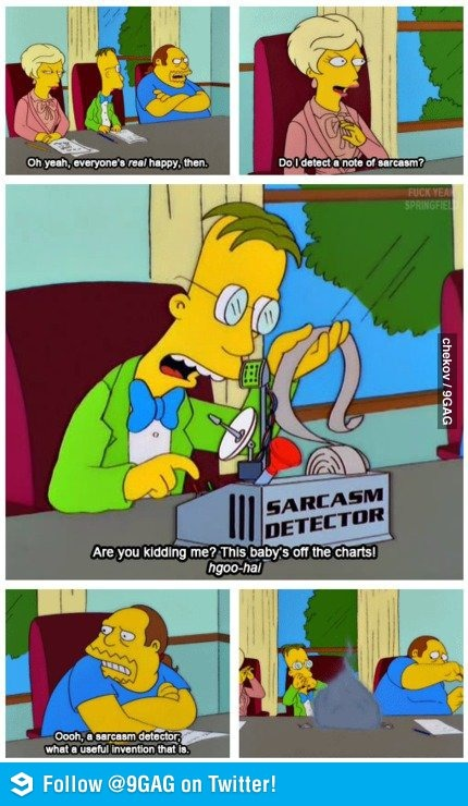 Sarcasm detector comic book guy