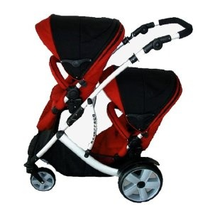 Duellette 15 Twin Tandem Pushchair complete with 2 seat units, and compatible with Britax Baby Safe Car seat. Comes complete with: 2 *Free rain covers*Silver Chassis Black Midnight/Ski Red: Amazon.co.uk: Baby