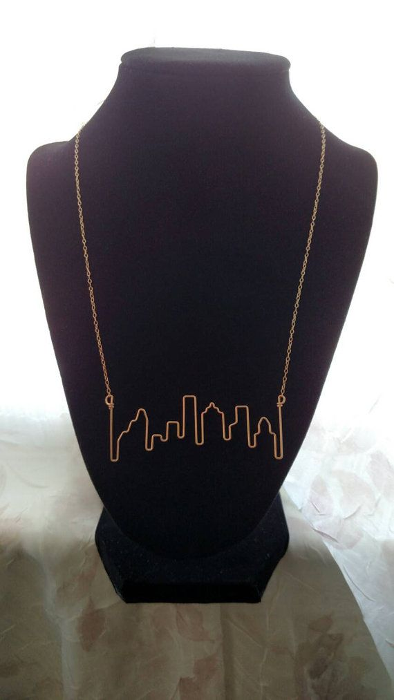 Houston Skyline Necklace by crossedoutcreations on Etsy